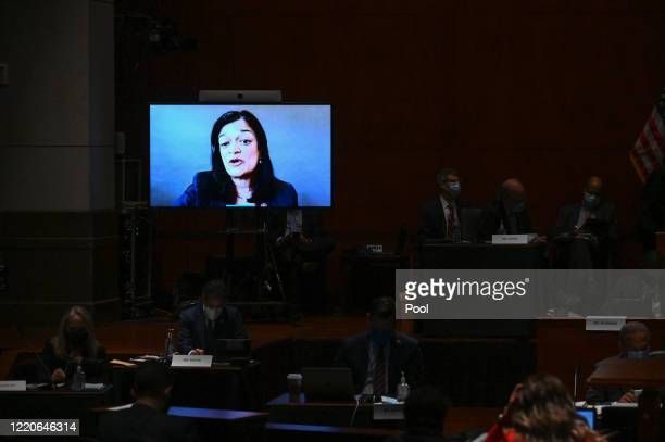 """Representative Pramila Jayapal, a Democrat from Washington, speaks via video during a markup on H.R. 7120, the """"Justice in Policing Act of 2020,"""" on..."""