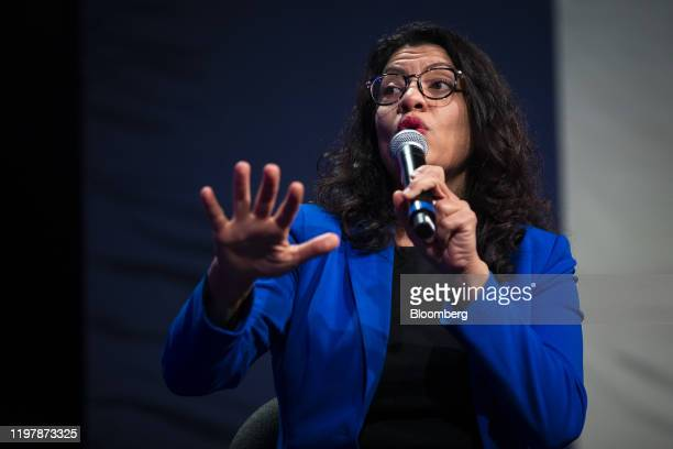Representative Rashida Tlaib, a Democrat from Michigan, left, speaks during a panel discussion during a campaign event for Senator Bernie Sanders, an...