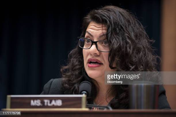 Representative Rashida Tlaib, a Democrat from Michigan, speaks during a House Financial Services Committee hearing with Mark Zuckerberg, chief...