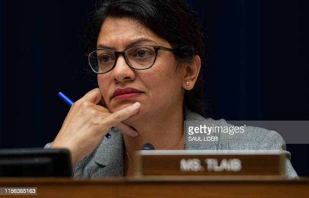 Representative Rashida Tlaib, Democrat of Michigan, questions US Acting Secretary of Homeland Security Kevin McAleenan during a House Oversight and...