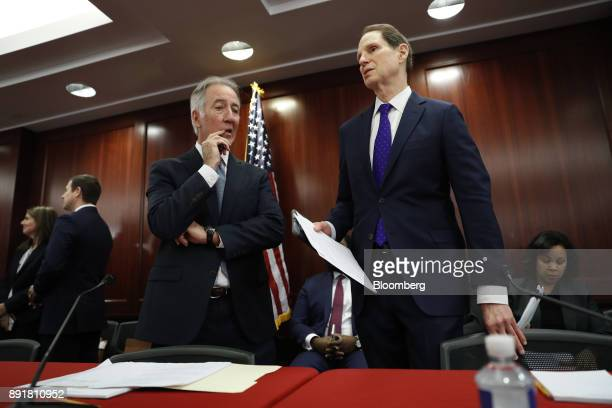 Representative Richard Neal a Democrat from Massachusetts and ranking member of the House Ways and Means Committee left speaks with Senator Ron Wyden...