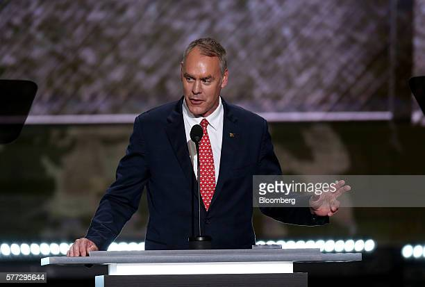 Representative Ryan Zinke a Republican from Montana speaks during the Republican National Convention in Cleveland Ohio US on Monday July 18 2016...