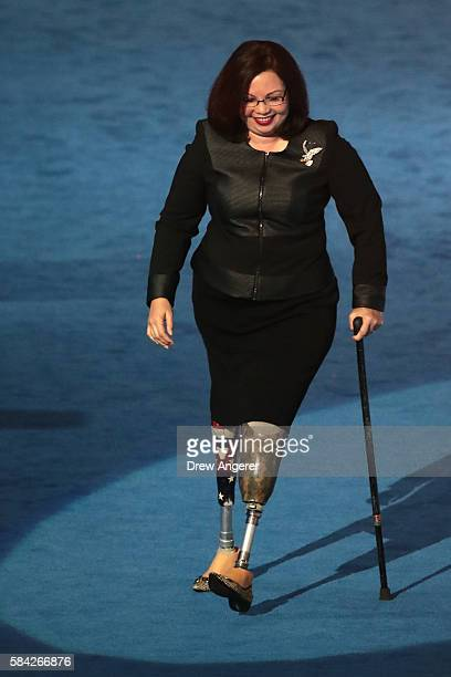 S Representative Tammy Duckworth arrives on stage during the fourth day of the Democratic National Convention at the Wells Fargo Center July 28 2016...