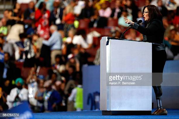 S Representative Tammy Duckworth delivers remarks on the fourth day of the Democratic National Convention at the Wells Fargo Center July 28 2016 in...
