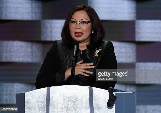 US Representative Tammy Duckworth of Illinois addresses delegates on the fourth and final day of the Democratic National Convention at Wells Fargo...