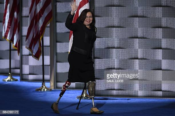 US Representative Tammy Duckworth of Illinois arrives to address delegates on the fourth and final day of the Democratic National Convention at Wells...