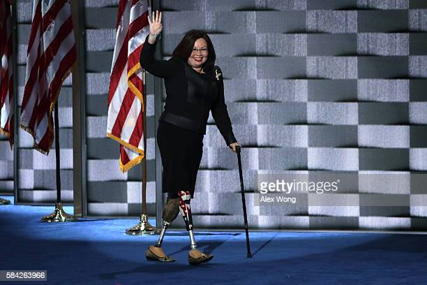 S Representative Tammy Duckworth on the fourth day of the Democratic National Convention at the Wells Fargo Center July 28 2016 in Philadelphia...
