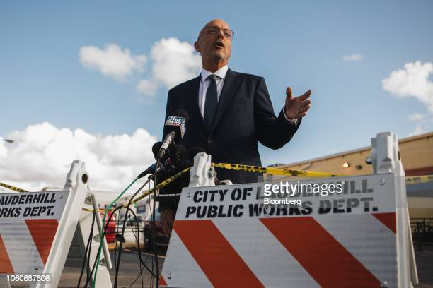 Representative Ted Deutch a Democrat from Florida speaks to members of the media outside the Broward County Supervisor of Elections office in...