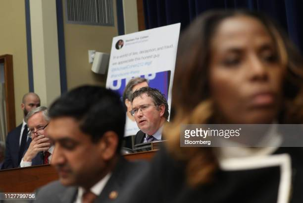 Representative Thomas Massie a Republican from Kentucky center speaks during a House Oversight Committee hearing with Michael Cohen former personal...