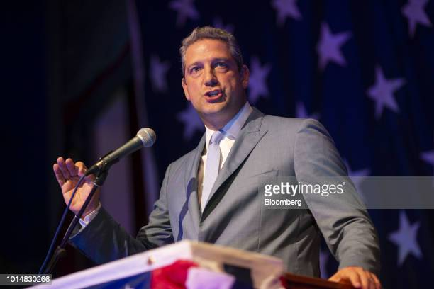 Representative Tim Ryan a Democrat from Ohio and 2020 presidential candidate speaks during the Democratic Wing Ding event in Clear Lake Iowa US on...