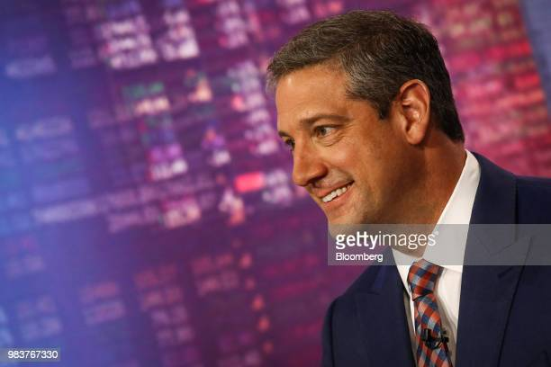 Representative Tim Ryan a Democrat from Ohio smiles during a Bloomberg Television interview in New York US on Monday June 25 2018 Ryan discussed his...