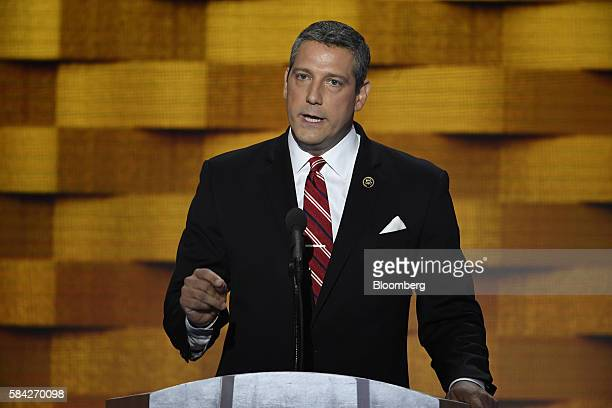 Representative Tim Ryan a Democrat from Ohio speaks during the Democratic National Convention in Philadelphia Pennsylvania US on Thursday July 28...