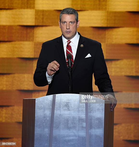 US Representative Tim Ryan of Ohio addresses delegates on fourth and final day of the Democratic National Convention at Wells Fargo Center on July 28...