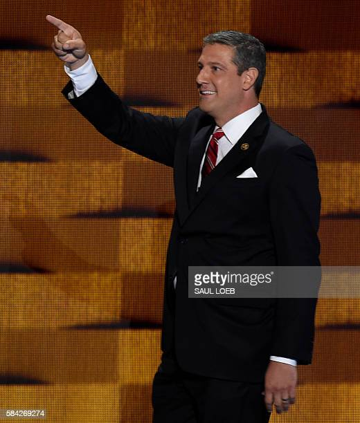 US Representative Tim Ryan of Ohio arrives on stage to address delegates on fourth and final day of the Democratic National Convention at Wells Fargo...