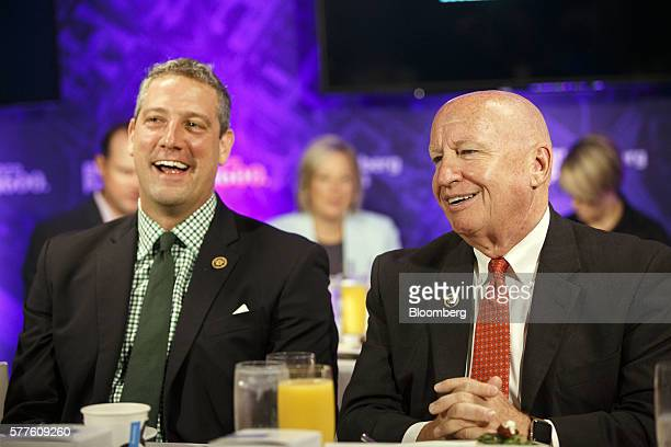 Representative Timothy Tim Ryan a Democrat from Ohio left and Representative Kevin Brady a Republican from Texas laugh during a Bloomberg Politics...