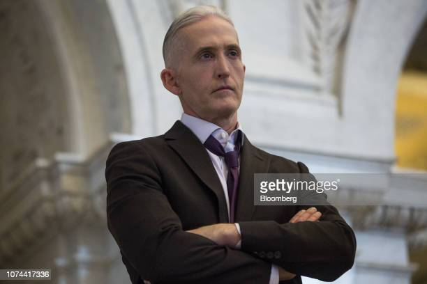 Representative Trey Gowdy a Republican from South Carolina listens while US House Speaker Paul Ryan a Republican from Wisconsin not pictured delivers...