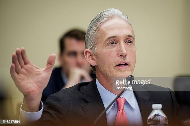 Representative Trey Gowdy a Republican from South Carolina questions Loretta Lynch US attorney general not pictured during a House Judiciary...