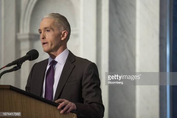 Representative Trey Gowdy, a Republican from South Carolina, speaks before U.S. House Speaker Paul Ryan, a Republican from Wisconsin, not pictured,...