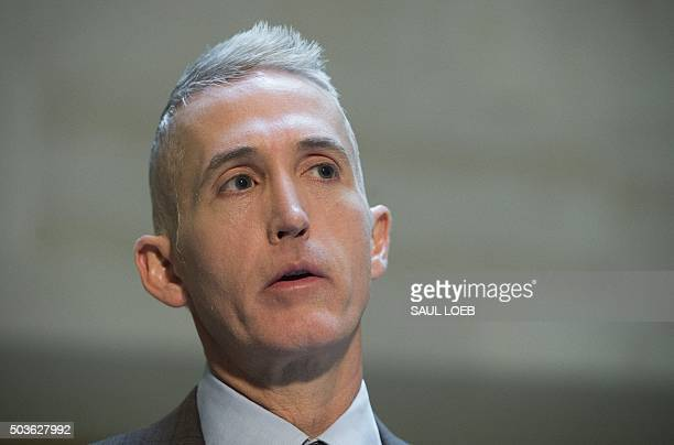 US Representative Trey Gowdy Republican of South Carolina and Chairman of the House Select Committee on Benghazi speaks to the media before the...