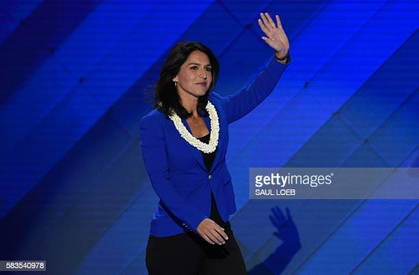 US Representative Tulsi Gabbard speaks during Day 2 of the Democratic National Convention at the Wells Fargo Center in Philadelphia Pennsylvania July...