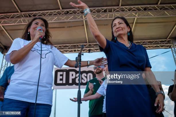 Representative Veronica Escobar a Democrat from Texas left speaks as Representative Deb Haaland a Democrat from New Mexico waves during an El Paso...