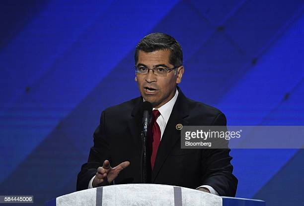 Representative Xavier Becerra a Democrat from California speaks during the Democratic National Convention in Philadelphia Pennsylvania US on Thursday...