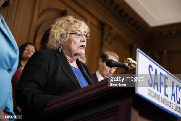 Representative Zoe Lofgren a Democrat from California speaks during a news conference ahead of a House vote on the Securing Americas Elections Act in...
