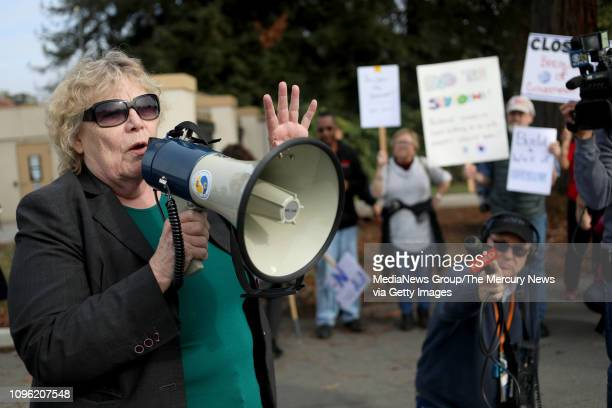 S Representative Zoe Lofgren speaks at a rall outside the NASA Ames Research Center calling for an end to the government shutdown in Mountain View...