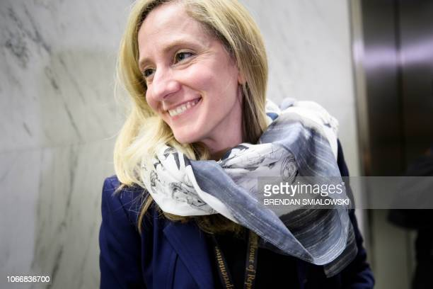 US Representativeelect Abigail Spanberger leaves after an office lottery for new members of Congress on Capitol Hill November 30 2018 in Washington DC