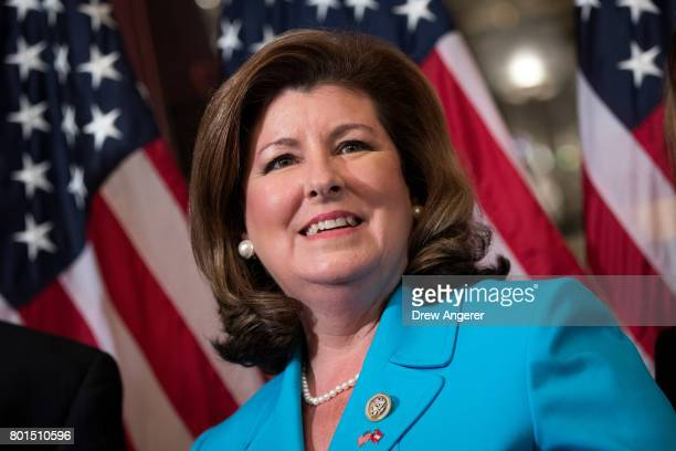 Representativeelect Karen Handle participates in a ceremonial swearingin on Capitol Hill June 26 2017 in Washington DC Handel defeated Democrat Jon...