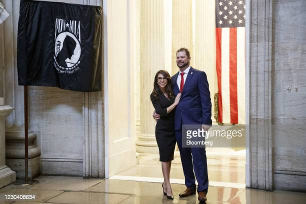 Representative-elect Lauren Boebert, a Republican from Colorado, left, stands for a photograph with her husband Jayson Boebert at the U.S. Capitol in...