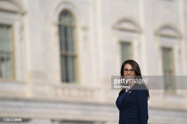 Representative-elect Lauren Boebert, a Republican from Colorado, stands outside the U.S. Capitol in Washington, D.C., U.S. On Monday, Jan. 4, 2021....
