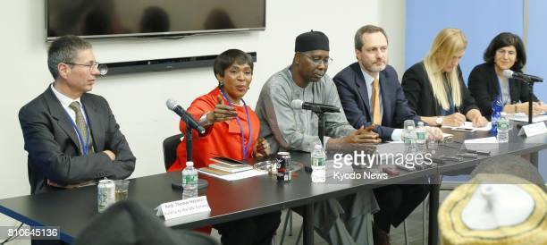 Representatives attend a press conference at the UN headquarters in New York on July 7 after a treaty banning nuclear weapons was adopted ==Kyodo