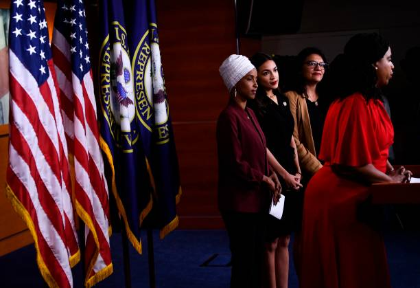 DC: Congresswomen Ocasio-Cortez, Tlaib, Omar, And Pressley Hold News Conference After President Trump Attacks Them On Twitter