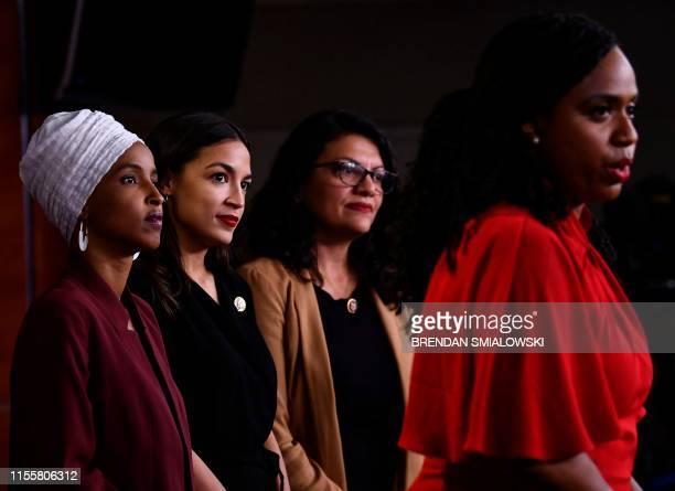Representatives Ayanna Pressley speaks as, Ilhan Abdullahi Omar , Rashida Tlaib , and Alexandria Ocasio-Cortez hold a press conference, to address...