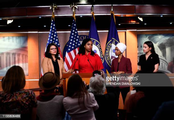 Representatives Ayanna Pressley speaks as, Ilhan Omar , Rashida Tlaib , and Alexandria Ocasio-Cortez look on during a press conference, to address...