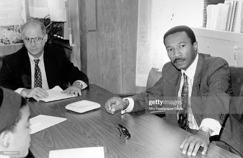 Representatives Ben Cardin and Kweisi Mfume at the Afro American Newspapers, Baltimore, Maryland, August 22, 1991.