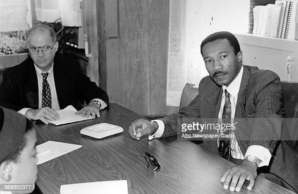 Representatives Ben Cardin and Kweisi Mfume at the Afro American Newspapers Baltimore Maryland August 22 1991