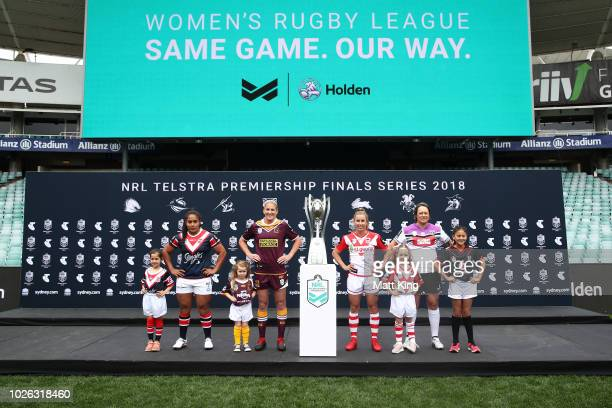 Representatives form the WNRL finals teams pose during the 2018 NRL Finals Series Launch at Allianz Stadium on September 3 2018 in Sydney Australia
