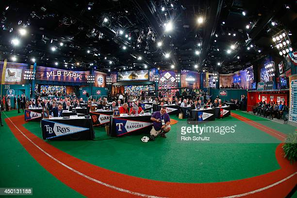Representatives from all 30 Major League Baseball teams fill Studio 42 during the MLB First-Year Player Draft at the MLB Network Studio on June 5,...