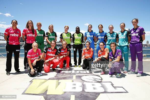 Representatives from all teams pose during the Women's Big Bash League 2016/17 Season launch at Goat Island on December 9 2016 in Sydney Australia
