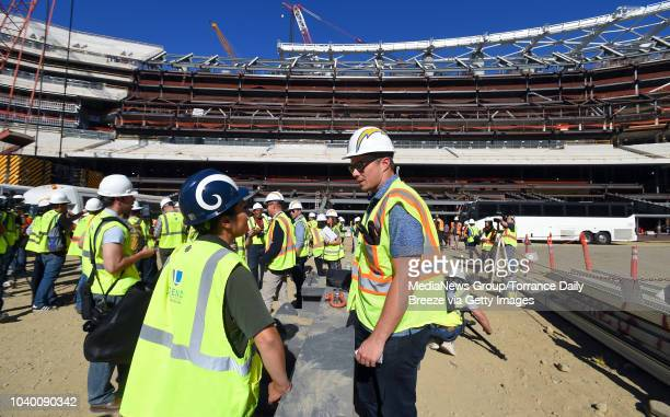 Representatives from both the Los Angeles Rams and Chargers tours the new Los Angeles Stadium at Hollywood Park on Tuesday September 18 2018 in...