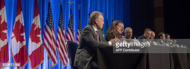 Representatives from Canada the US and Mexico deliver opening remarks before the start of negotiations for the modernization of NAFTA August 16 in...