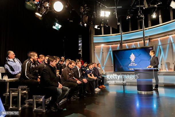 Representatives from football clubs across the country gather for the FFA Cup round of 32 draw announcement at the FFA Offices on June 30 2016 in...