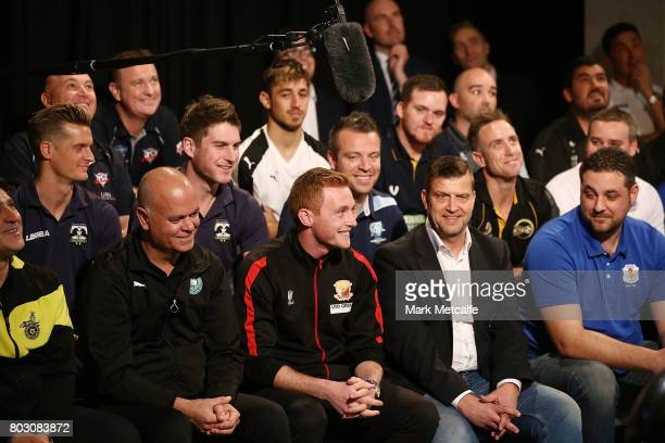 Representatives from football clubs across the country react during the FFA Cup Round of 32 Official Draw on June 29 2017 in Sydney Australia