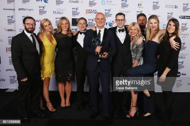 Representatives from MC Saatchi Sport Entertainment pose for a photo with their Agency of the Year award during the BT Sport Industry Awards 2018 at...