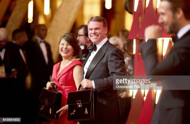 Representatives from PricewaterhouseCoopers Martha L Ruiz Brian Cullinan and actor Ryan Gosling attend the 89th Annual Academy Awards at Hollywood...