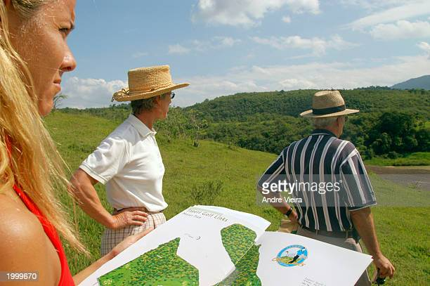 Representatives from Rio de Janeiro's Golf Federation visit the construction site of Japeri Municipal Public Golf Course May 14 in Japeri a suburb...