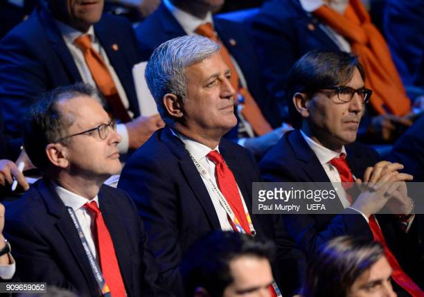 Representatives from Switzerland including head coach Vladimir Petkovic in the draw hall during the UEFA Nations League Draw on January 24 2018 in...