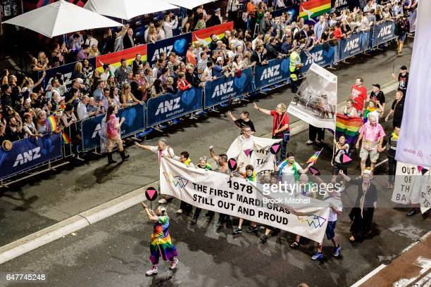 Representatives from the first Mardi Gras in 1978 during the 2017 Sydney Gay Lesbian Mardi Gras Parade on March 4 2017 in Sydney Australia The Sydney...